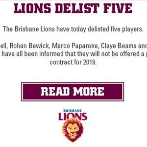 Lions Delist Five